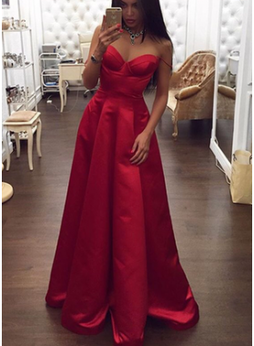 Elegant Sweetheart Satin A-Line/Princess Red 2021 Prom Dresses