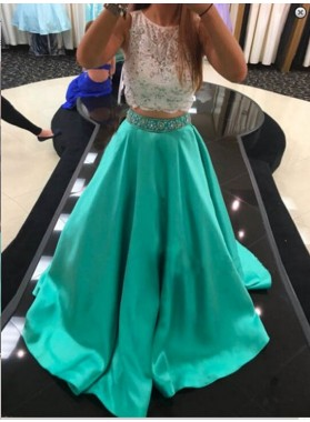 2019 A-Line/Princess Two Pieces Mint Green Lace Prom Dresses