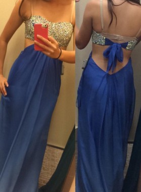LadyPromDress 2019 Blue Sequins Floor-Length/Long Column/Sheath Chiffon Prom Dresses