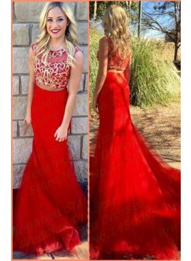 2019 Gorgeous Red Appliques Sweep/Brush Train Mermaid/Trumpet Tulle Prom Dresses