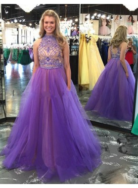 Purple Crystal Detailing High Neck Ball Gown Tulle Prom Dresses