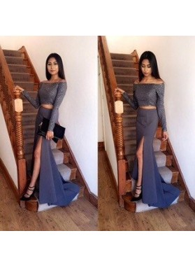 Off-the-Shoulder Column/Sheath Stretch Satin Two Pieces Grey Prom Dresses
