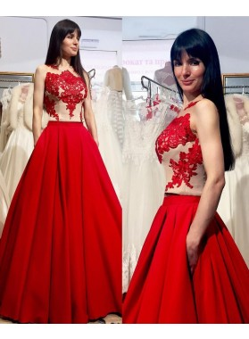 2019 Gorgeous Red Appliques Sleeveless Round Neck A-Line/Princess Satin Prom Dresses