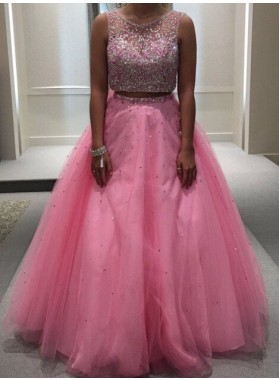 Beading Ball Gown Tulle Two Pieces 2019 Glamorous Pink Prom Dresses