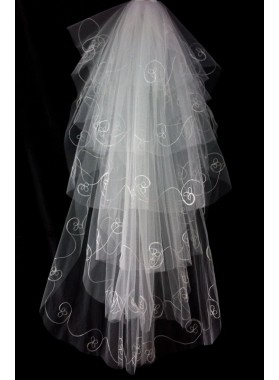 Quite Beautiful Wedding Veil With Embroidery