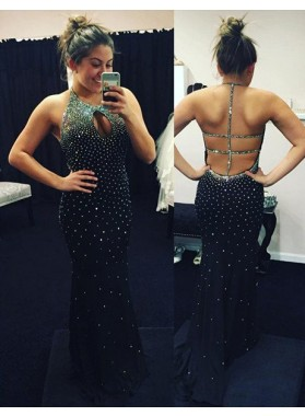 2019 Junoesque Black Beading Halter Hollow Back Prom Dresses