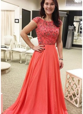 Orange Capped Sleeves Beading A-Line/Princess Chiffon Prom Dresses