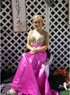 Round Neck Sleeveless Crystal A-Line/Princess Satin Prom Dresses