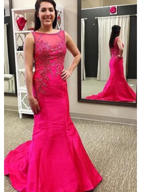Bateau Beading Mermaid/Trumpet Satin 2019 Gorgeous Red Prom Dresses