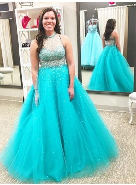 LadyPromDress 2020 Blue Beading High Neck Ball Gown Tulle Prom Dresses