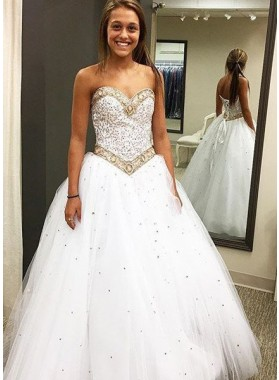 2019 Unique White Prom Dresses Sweetheart Beading Lace Up A-Line/Princess Tulle