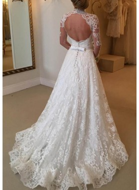 Lace Court Train A-Line/Princess Long Sleeve Sweetheart Covered Button Wedding Dresses / Gowns With Appliqued Waistband