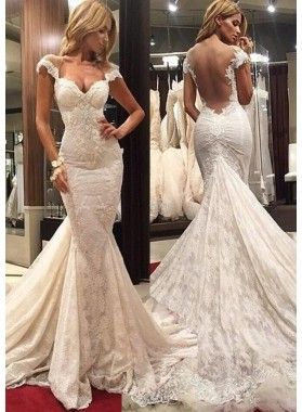 Lace Watteau Train Trumpet/Mermaid Sleeveless Off-The-Shoulder Zipper Wedding Dresses / Gowns With Appliqued