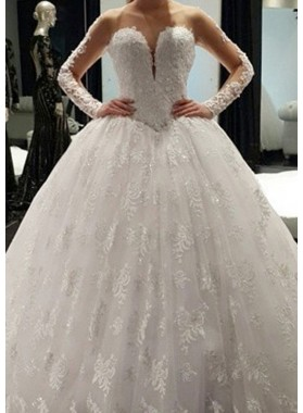 Tulle Court Train Ball Gown Long Sleeve Sweetheart Covered Button Wedding Dresses / Gowns With Appliqued Crystal Detailing