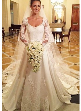 Satin Court Train A-Line/Princess Long Sleeve Bateau Covered Button Wedding Dresses / Gowns With Appliqued