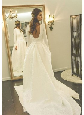 Satin Court Train A-Line/Princess Long Sleeve Bateau Zipper Wedding Dresses / Gowns With Appliqued
