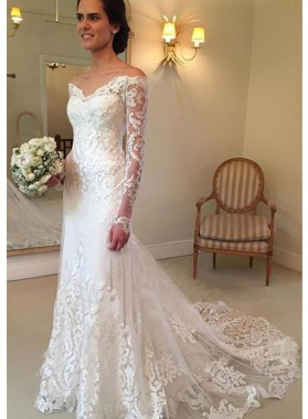 Tulle Court Train Sheath/Column Long Sleeve Off-The-Shoulder Covered Button Wedding Dresses / Gowns With Appliqued
