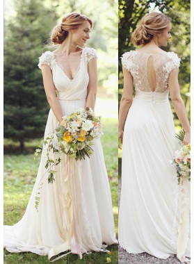 Chiffon Sweep Train A-Line/Princess Sleeveless V-Neck Covered Button Wedding Dresses / Gowns With Flowers
