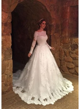 Lace Sweep Train Ball Gown Long Sleeve Off-The-Shoulder Zipper Wedding Dresses / Gowns With Appliqued Waistband