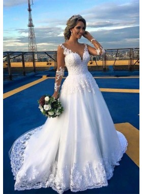 Lace Court Train Ball Gown Long Sleeve V-Neck Covered Button Wedding Dresses / Gowns With Beaded