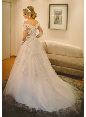 Tulle Floor-Length A-Line/Princess Long Sleeve Off-The-Shoulder Covered Button Wedding Dresses / Gowns With Appliqued