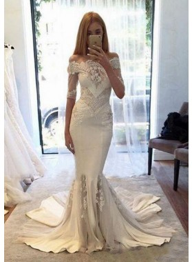 Chiffon Wedding Dresses / Gowns A-Line/Princess Off-The-Shoulder Court Train With Appliqued