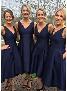 Satin Bridesmaid Dresses / Gowns A-Line/Princess V-Neck Tea-Length