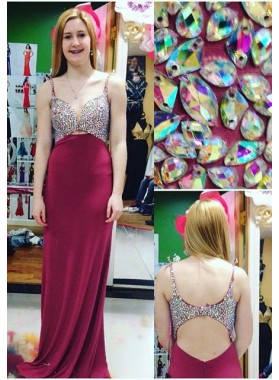 2019 Gorgeous Red Prom Dresses Straps Crystal Sweep Train Column/Sheath