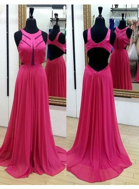 Crew Neckline Sleeveless Backless A-Line/Princess Chiffon Prom Dresses