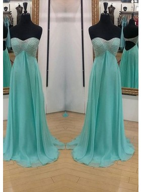 Beading Sweetheart Backless A-Line/Princess Chiffon Prom Dresses