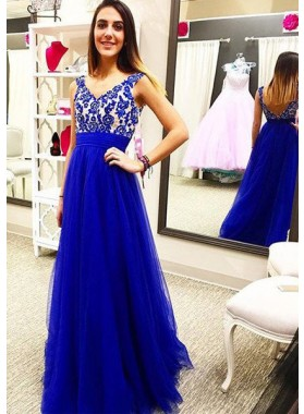 Royal Blue Embroidery Empire Waist A-Line/Princess Tulle Prom Dresses