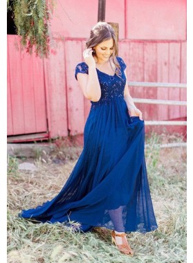 LadyPromDress 2019 Blue Lace Spliced A-Line/Princess Chiffon Prom Dresses