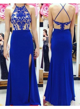 Royal Blue Embroidery Halter Stretch Satin Prom Dresses