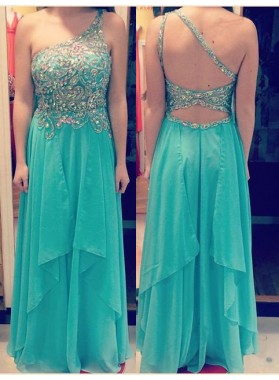 Beading One-Shoulder Chiffon Prom Dresses