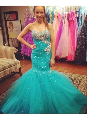 Beading Sweetheart Mermaid/Trumpet Tulle Prom Dresses