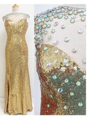 Crystal Detailing Column/Sheath Sequin Prom Dresses