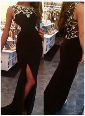 2019 Junoesque Black Beading High Split Trumpet Stretch Satin Prom Dresses