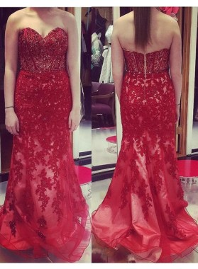 2019 Gorgeous Red Prom Dresses Sweetheart Appliques Mermaid/Trumpet Tulle