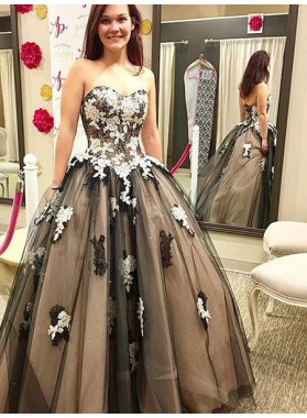 Sweetheart Appliques Ball Gown Tulle Prom Dresses