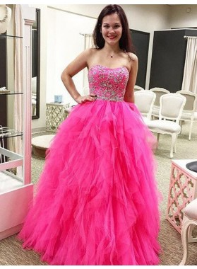 Prom Dresses Sweetheart Beading Layers A-Line/Princess Tulle