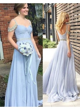 LadyPromDress 2019 Blue Beading Straps A-Line/Princess Chiffon Prom Dresses