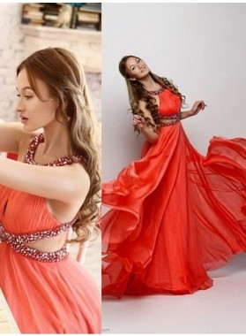 2019 Gorgeous Red Halter Beading Criss Cross A-Line/Princess Chiffon Prom Dresses