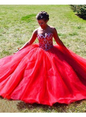 2019 Gorgeous Red Beading Sweetheart Ball Gown Tulle Prom Dresses