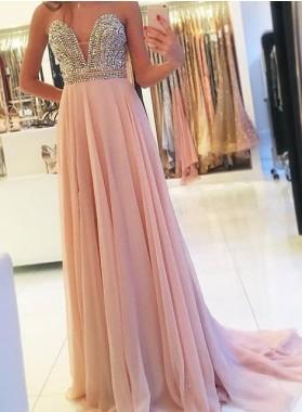 Beading Sweetheart A-Line/Princess Chiffon 2019 Glamorous Pink Prom Dresses