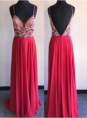 2018 Gorgeous Red Beading Backless Chiffon Prom Dresses