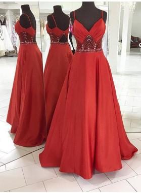 2018 Gorgeous Red Prom Dresses Spaghetti Straps Crystal A-Line/Princess Satin