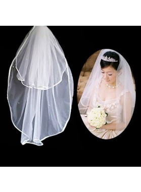 Simple 2 Layers Wedding Veil
