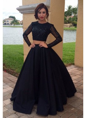 2019 Junoesque Black Beading Long Sleeve Satin Two Piece Prom Dresses