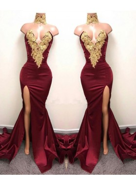 2019 Charming Red V-neck Sexy Satin Prom Dresses