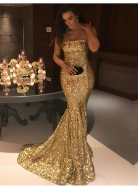2019 Gorgeous Gold Sequins Mermaid Prom Dresses